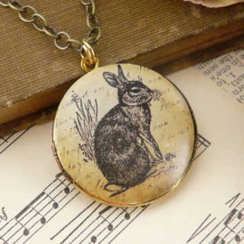 Rabbit Vintage Antique Brass Art Locket by QuaintandCurious