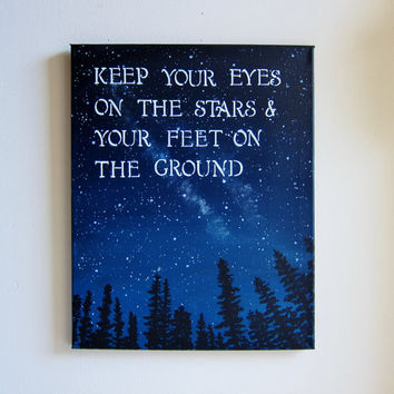 Inspirational Art with Sayings - Keep Your Eyes On The Stars Original Acrylic 16 x 20 Painting - Trees and Stars Artwork