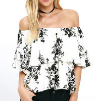 Heron Heights Black and Cream Print Off-the-Shoulder Top