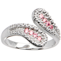 Sterling Silver 925 Pink Cubic Zirconia Wrap Toe Ring | Body Candy Body Jewelry