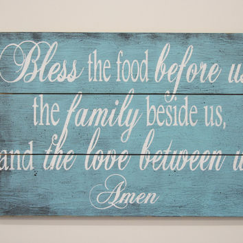 Bless The Food Pallet Sign Wood Kitchen Sign Dining Room Decor Shabby Chic Decor Vintage Look Handpainted Sign Handmade Wedding Gift