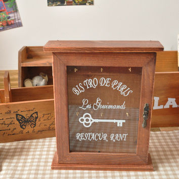 Home Decor Storage Box Lock Glass Wooden Gifts Accessory Box [6282880966]