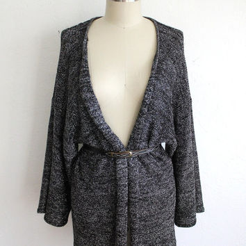 Vintage 80s Silver Metallic Kimono Style Cardigan // Women's Open Long Sweater