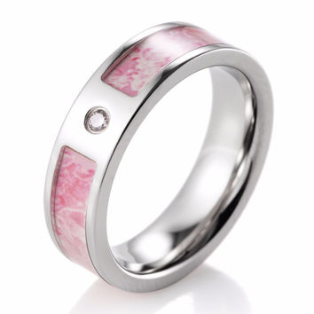 Women Pink Camo Wedding Ring Titanium CZ Crystal King's Flower Camo Engagement Ring for Women Wedding Band