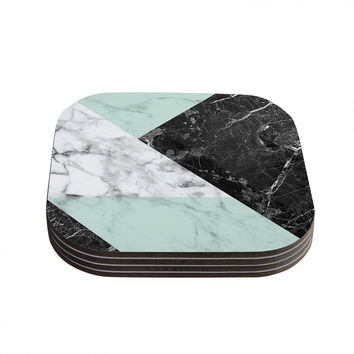 "KESS Original ""Geo Marble and Mint"" Black Art Deco Coasters (Set of 4)"