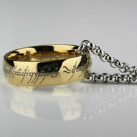 "Stainless Steel Lord of the Rings ""The One Ring"" Bilbo's Hobbit Ring & Chain"