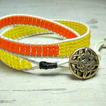 Orange And Yellow Bead Double Wrap Bracelet, Leather Double Wrap, Wrap Around, Bead Wrap Bracelet