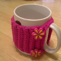 Shocking Pink Flower Button Crochet Mug Cozy, coffee cup cozies, koozie