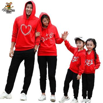Family Clothing Mother Daughter Hoodies Family Look Father Son Cotton Boy Girl Men Women Hooded Clothes Family Matching Outfits