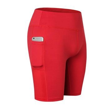 2017 High Elastic Running Shorts For Women With Side Pocket Fitness Tight Gym Sport Clothing Quick Dry Fitness Yoga Shorts Women