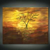 Reserved for Gerri- Mirage Of Life- Original Acrylic Abstact Painting, Brown and Yellow, Gold, and a Black Tree(Painting No. N080)