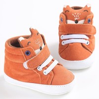 Baby Boy Fox Head Animal First Walker Sneaker Shoes 0-18 M
