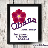 OHANA, Ohana Means Family, Lilo and Stitch, Disney, Poster Art Printable, 8 X 10 Wall Art Decor Poster, Hidden Mickey, INSTANT DOWNLOAD
