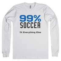 99 percent Soccer long sleeve tee t shirt-Unisex White T-Shirt