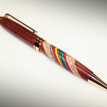 Black Walnut Wood Pen with Chestnut & Rainbow Colored Birch inlay