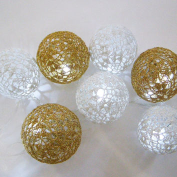 Party Lighting, Holiday Lights, Lighting Chain Bedroom Decor, Fairy Lights, String Lights, 20 Crocheted white gold balls , garland light