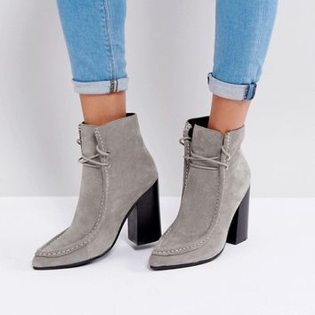 Sol Sana Dillan Grey Suede Heeled Ankle Boots at asos.com