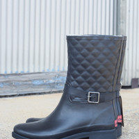 Quilted Mid Riding Boot by Chooka {Black} | 1412992