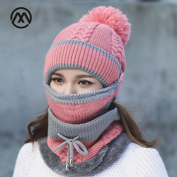 Winter Knitted Wool Hat Warm Mask Collar Three Sets Face Cap Protection Women Ball Caps Scarf Girls Cold Weather Accessory