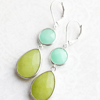 Lime Green and Mint Earrings Long Dangle Earrings Chartreuse Teardrop Aqua Jewel Earrings Nickel Free Bright Colorful Jewelry Modern Summer