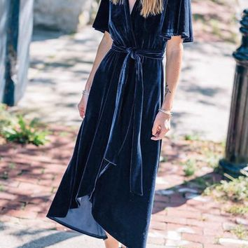 Navy Blue Irregular Sashes Velvet Bow V-neck Short Sleeve Maxi Dress