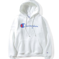 Champion couple sets the head sweater couple models Plus velvet hooded sweater simple printing class service 4 color  White