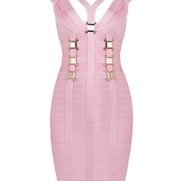 Pink Cap Sleeve Athena Bandage Dress with Gold Square Details