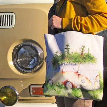 Volkswagen Camper Tote Bag, Woodland VW Bus Canvas Purse