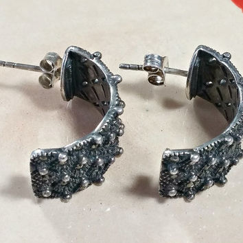 Vintage Sterling Silver Half Hoop Earrings Wide Half Hoops Post Style Embellished with Marcasites and Textured Antique Fabulous Fashion