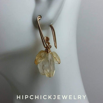 Faceted Geometric Citrine on Gold, Yellow Gemstone Earrings, Handmade Birthstone Jewelry, Small Drop Earrings, Cluster Drop, HipChickJewelry