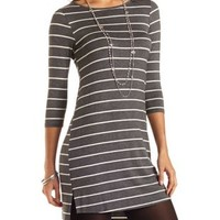High-Low Striped T-Shirt Dress