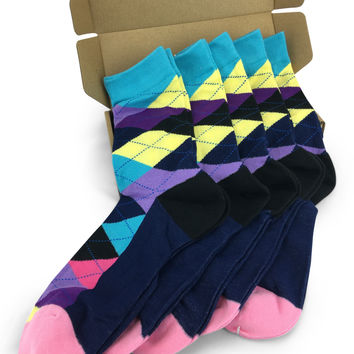 Wedding Party Socks - Turquoise Pale Yellow Lavender Argyle