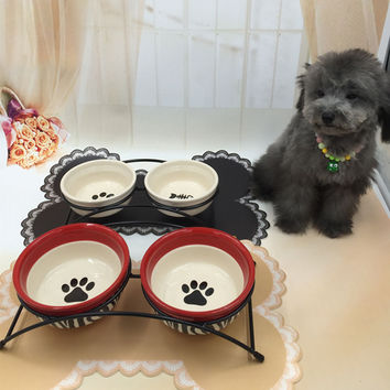 High Quality Portable Pet Dog Bowl Ceramic Travel Water Dogs Food Container Comederos Perros Puppy Cuenco Perro Pet Tool 50Z0729