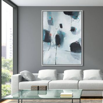 Abstract art print, office wall art, canvas print, large abstract painting, black and white giclee print, Camilo Mattis
