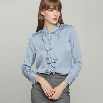 100% Heavy Silk Blouse Women Shirt Elegant Design Ruffles Long Sleeves 2 Colors Office Work Top New Fashion Spring 2018