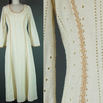 Vintage 70s Hippie Dress 1970s Eyelet Cream Bell Sleeve Boho Bohemian Wedding Festival Maxi M B 36""