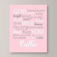 Personalized Wall Art for girls, God Made You Personalized Girl Print, Pink and gray nursery decor, Kids Wall Art, baby girl gift