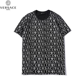 Versace New fashion more letter human head print couple top t-shirt Black