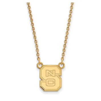 NCAA 14k Yellow Gold North Carolina Small 'NCS' Pendant Necklace