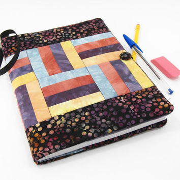 Fabric Journal Cover, Quilted Composition Notebook in Rust, Peach, Teal and Eggplant Purple Hand Dyed Fabrics