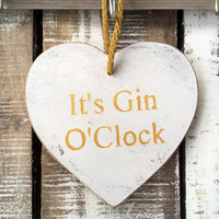 Funny Sign. It's Gin O'Clock. Funny Gift. Kitchen Decor.