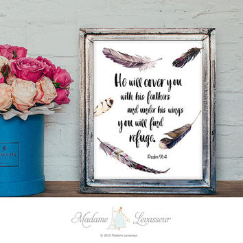 Bible Verse Feather printable art Scripture art print Watercolor Feathers Art Print Christian Wall Art Home decor Bible Art Quote Psalm 91:4