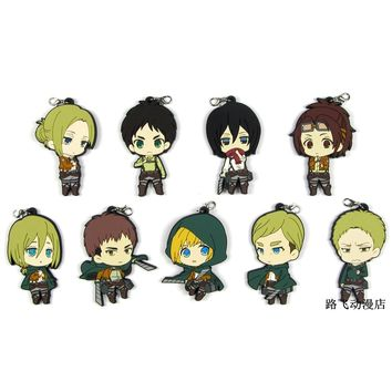Cool Attack on Titan  Erwin Eren Jager Smith Hanji Zoe Reiner Braun Annie Leonheart Action Figure Anime Model Rubber Keychain Pendant AT_90_11