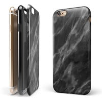 Black and Chalky White Marble iPhone 6/6s or 6/6s Plus 2-Piece Hybrid INK-Fuzed Case