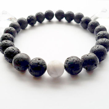 Lava Bead Bracelet with Howlite| Natural Essential Oil Diffuser