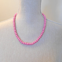 Pink Pearl Necklace - Glass Pearl Jewelry - Pink Necklace - Pink Jewelry - Bridesmaid Necklace - Wedding Jewelry - Pearl Jewelry