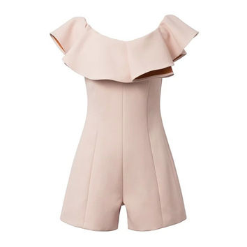 Summer Women's Fashion Slim Ruffle Strapless Dress Pants Romper [4915020612]