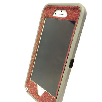 iPhone 6 (4.7 inch) OtterBox Defender Series Case Glitter Cute Sparkly Bling Defender Series Custom Case Gray / red