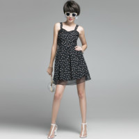 Sleeveless Dots Prints Bowtie Detailing Aline Dress