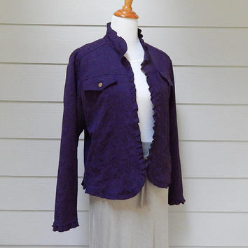 Vintage Deep Purple Jacquard Fitted Jacket, Unlined, Open Front, Coldwater Creek